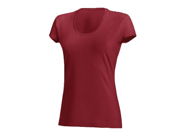 Shirts & Co.: Damen T-Shirt, rundhals + bordeaux
