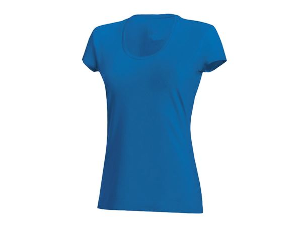 Shirts & Co.: Damen T-Shirt, rundhals + enzianblau