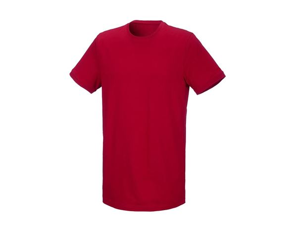 Shirts & Co.: T-Shirt cotton stretch, long fit + feuerrot