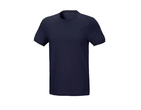 Shirts & Co.: T-Shirt cotton stretch, slim fit + dunkelblau
