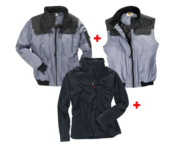 Aktions-Sets: Aktion: Pilotenjacke + Weste + Microfleece-Troyer + grau/schwarz